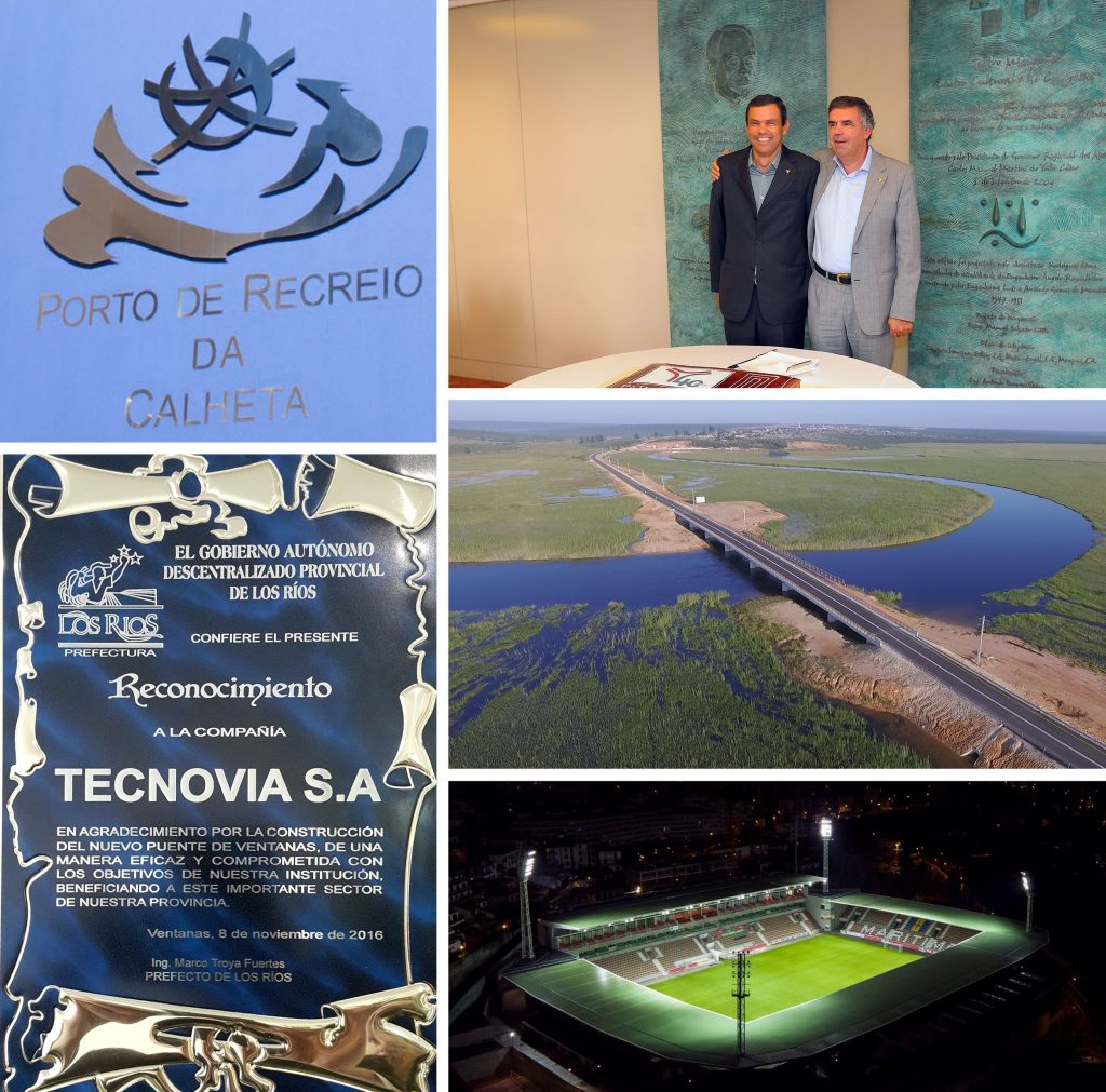 Calheta Recreational Port | Luis and João Guilherme Costa at the anniversary of Tecnovia Açores | Recognition for the Province of Los Rios through Tecnovia's provision of services in the construction of the Ventanas Bridge | Puente Ventanas [Ventanas Bridge], the 1st Tecnovia bridge in Ecuador | Estadio Arena Marítimo [Maritime Stadium Arena]