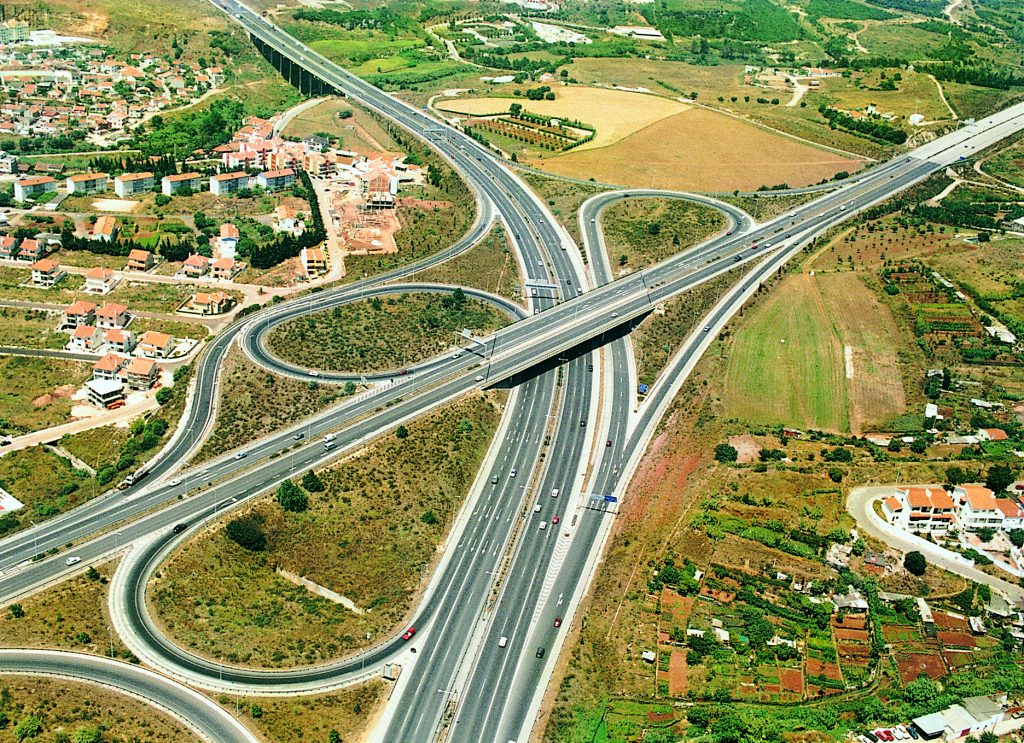 Estoril A5 Motorway and the Crel A9 Node near the National Stadium, both built by Tecnovia