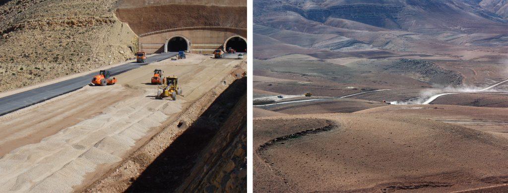 Trabalhos na Zona do Túnel durante a construção da Autoestrada | Troço Imintanout-Argana