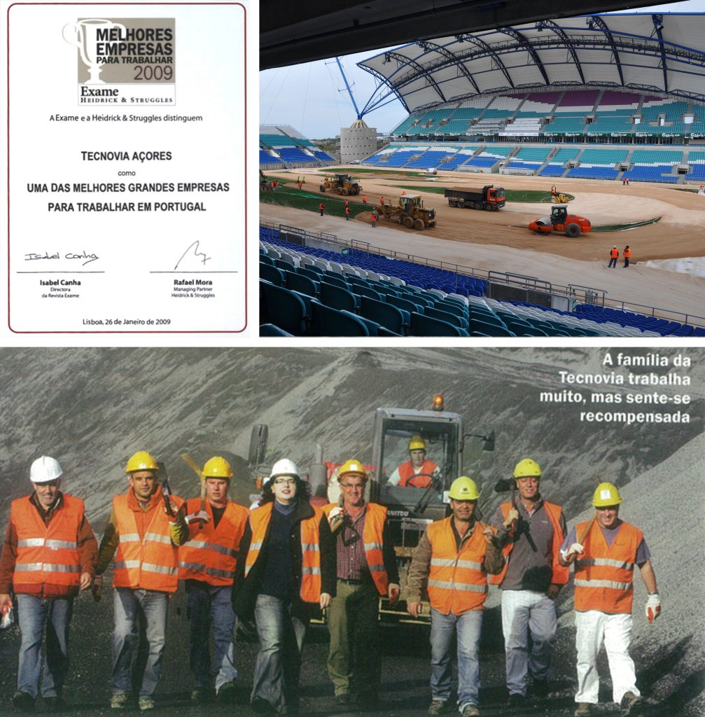 Tecnovia Açores recognised as one of the best companies to work for | The Tecnovia Açores team in the Exame magazine article on the best companies to work for | Construction of a track in the Algarve stadium for the Super Especial race in the 2009 Rally de Portugal
